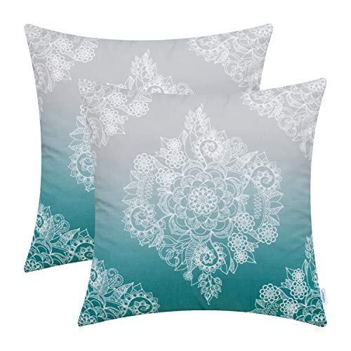 Damask Holiday Photo - CaliTime Pack of 2 Cozy Throw Pillow Cases Covers Couch Bed Sofa Manual Hand Painted Print Vintage Mandala Floral 20 X 20 Inches Gradient Medium Grey to Teal