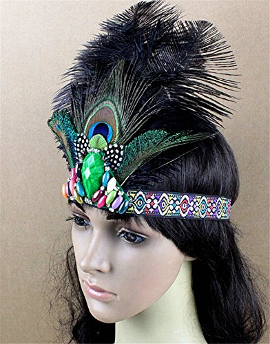 [Pavian Indian tribal chiefs exaggerated diamond peacock feathers headdress headband for halloween party cosplay costume] (Peacock Spider Costume)