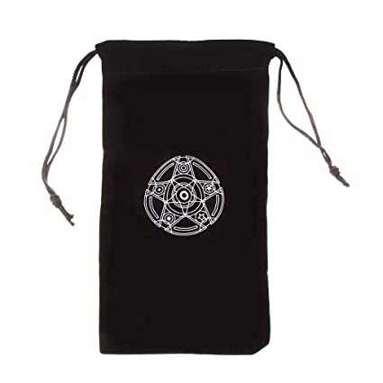 85f2579248e1 Hacloser Velvet Pentagram Tarot Card Bag Pouch Black Mini Drawstring  Package Storage Bag for Jewelry Makeup Toy