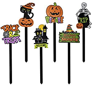 Gift Boutique Halloween Yard Stakes, Set of 6 Spooky Yard Signs Garden Decoration