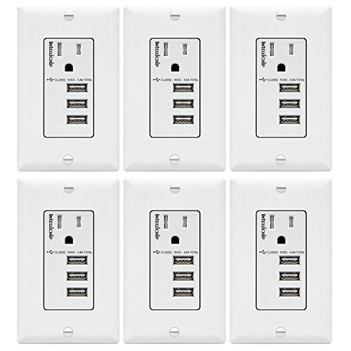 TOPGREENER 5.8A Ultra High Speed 3-Port USB Charger Outlet, 15A Tamper-Resistant Receptacle, Compatible with iPhone X/XS/XR, Samsung Note9/S9 & other Smartphones, TU11558A3-6PCS, White 6-Pack