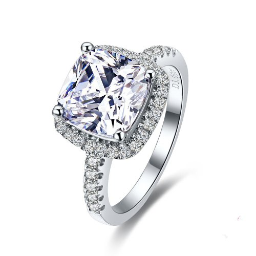Luxury Quality 3 Carat Cushion Cut Simulated Diamond Rings for Women ,Nscd Synthetic Diamond!,halo Wedding Enagement Ring (2 Carat Cushion Cut Diamond Actual Size)