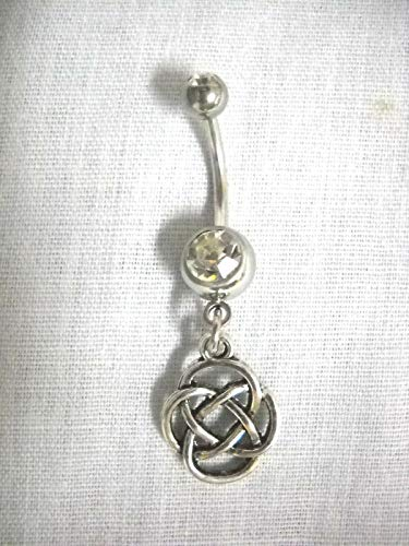 New Celtic Infinity 4 Side Infinity Knot ON Clear Belly Button Ring Navel BAR KEZ-811