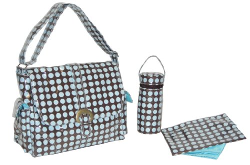 Kalencom Fashion - Bolso cambiador con accesorios, diseño de lunares, color marrón y azul Azul y Crema y Chocolate