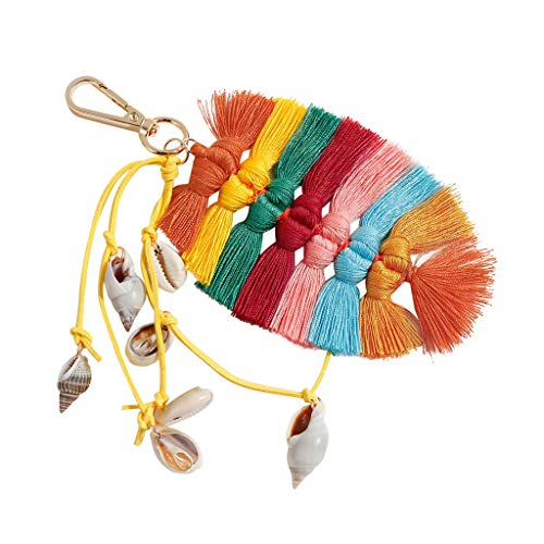 〓LYN Star〓 Colorful Boho Pom Pom Tassel Bag Charm Key Chain Colorful Boho Charm Key Ring, Fashion Accessories for ()