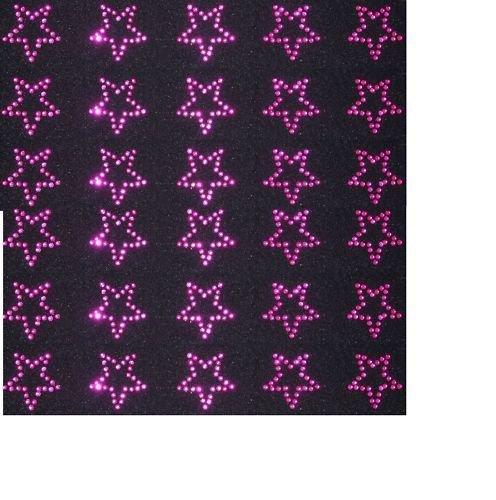 Hot Pink 30 Rhinestone STARS iron-on diamante transfer crystal stone bling motif