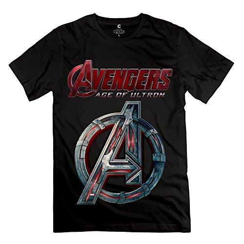 SANYI Men's Avengers Age Ultron Logo T-shirt L Black