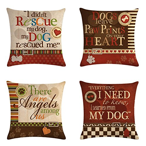Smilyard Dog with Quotes Decorative Pillow Covers Cotton Linen Square Dog Lover Throw Pillow Cases Cushion Cover 18 x 18 Inch for Home Sofa Bedroom (Set of 4) (Days Winter Dog Pillows Of)