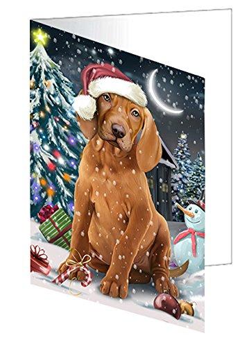 Holly Jolly Christmas Card - Have a Holly Jolly Christmas Happy Holidays Vizsla Dog Greeting Card GCD2675 (10)