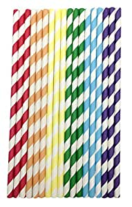 150 Pieces Paper Straws Drinking for Everyday,Birthday,Wedding,Party-Colorful Rainbow (Rainbow)