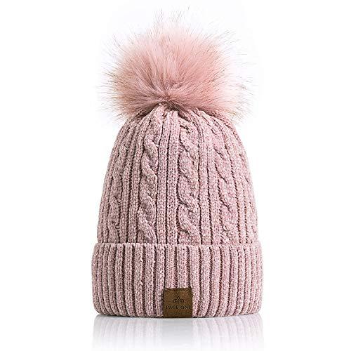 - PAGE ONE Women Winter Pom Pom Beanie Hats Warm Fleece Lined,Chunky Trendy Cute Chenille Knit Twist Cap/Pink