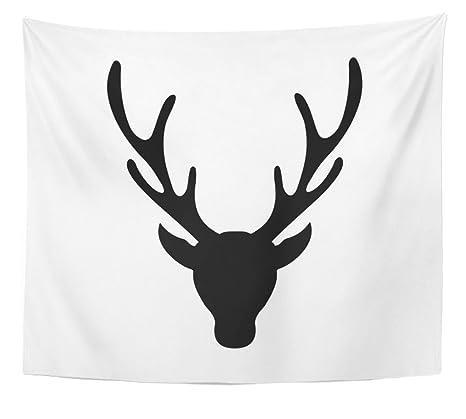 Emvency Tapisserie Cerf Noir Silhouette De Tête De Cerf Avec