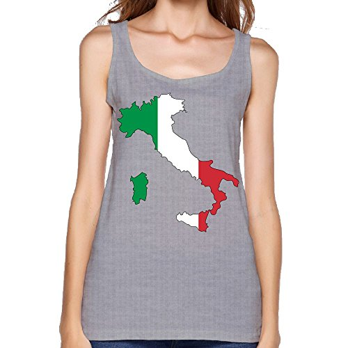 Women's Italy Flag Map Fashion Sleeveless Vest Novelty Tank Tops Graphic Tee -