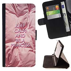 King Case - FOR Samsung Galaxy S3 III I9300 - be a princess - Prima caja de la PU billetera de cuero con ranuras para tarjetas, efectivo Compartimiento desmontable y correa para la mu?eca