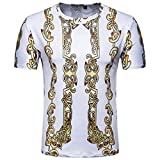 Mose Gold Print Loose T-Shirt to Men Fashion Men's Summer Casual Printed Pullover Short Sleeves Shirt Top Blouse (White, M)
