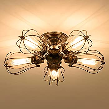 Vintage Ceiling Light Industrial Semi Flush Mount Ceiling Light Metal  Fixtures Painted Finish; Moonkist (With 5 Light) (Bronze)