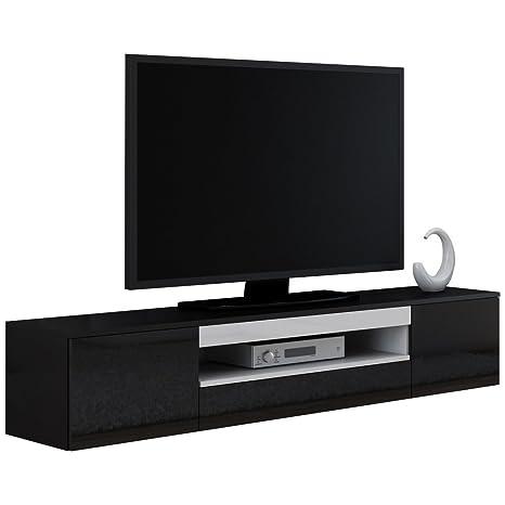 Justyou Veva Meuble Tv Lowboard 180 Cm Couleur Noir Blanc Amazon