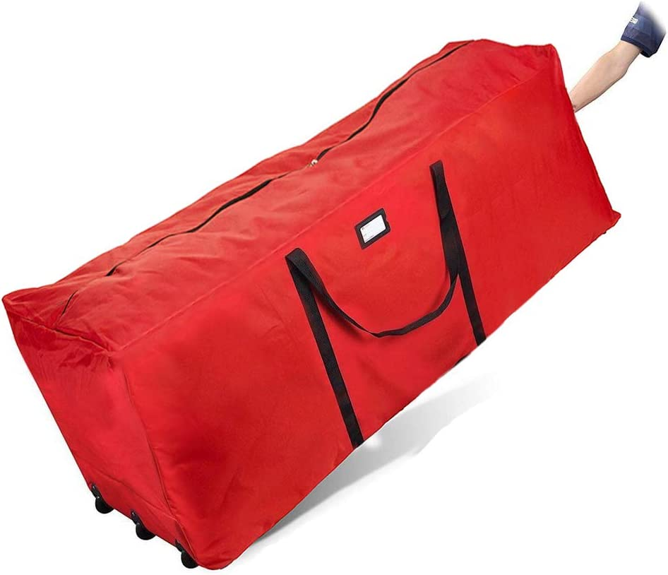 """Primode Rolling Tree Storage Bag, Fits Up to 9 ft. Disassembled Holiday Tree, 25"""" Height X 20"""" Wide X 60"""" Long, Extra Large Heavy Duty Storage Container with Wheels and Handles (Red)"""