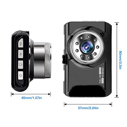 """Dash Cam, coolsun Dashboard Camera Recorder 3.0""""LCD FHD 1080P, Car Cam Vehicle DVR Built-in Night Vision, WDR, G-Sensor, Loop Recording. by coolsun (Image #5)"""