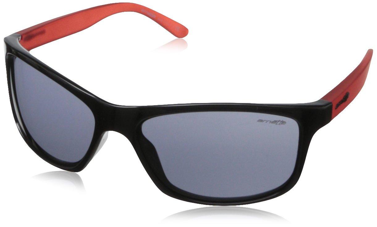 Arnette Pipe Round Sunglasses,Gloss Black/Gummy Cherry/Grey,55 mm