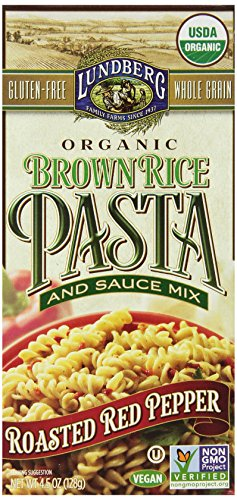 Lundberg Organic Brown Rice Pasta and Sauce Mix, Roasted Red (Organic Roasted Peppers)