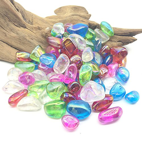 (MOSOAO Rainbow Colorful Angel Aura Quartz Crystals Gravel Titanium Tumble Stones for Ornament)