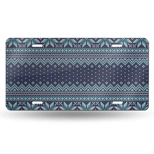 NVHBGIKL Festive Knitted Pattern Personality Metal License Plate Decoration Card Aluminum 6