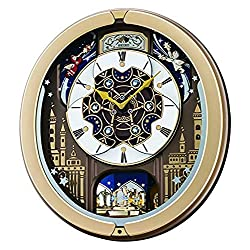 Seiko Skyline and Starry Night Melodies in Motion Wall Clock, Gold