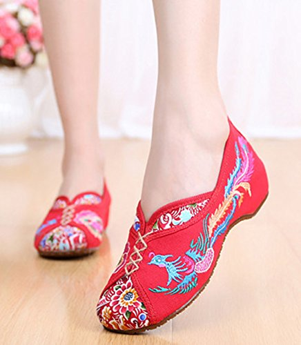 Oxfords Sole Shoes Red Phoenix Heel Wedge Traditional Embroidery AvaCostume q0CYXw