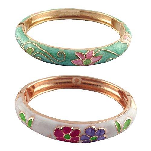 UJOY Vintage Enamel Flower Bangles Golden Spring Cuff Womens Cloisonne Jewelry Gift 55B06 Grass Green