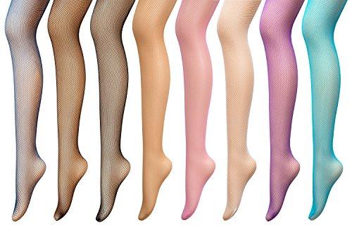 PreSox Fishnet Tights Seamless Nylon Mesh Stockings Control Top Sheer Pantyhose for Women Girls, One Size, 8p]()