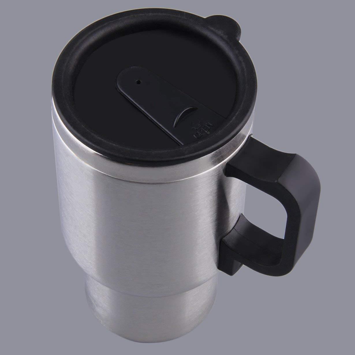 Cable Taza de calentamiento del autom/óvil taza de calentamiento autom/ática de 12 v Hervidor de agua el/éctrico Calentadores t/érmicos Tazas de agua hirviendo bottel accesorios para autom/óviles 500ML plata + negro