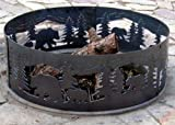 Solid Steel Campfire Fire Ring w Bears N' Cubs Cutouts (48 in. Dia.)
