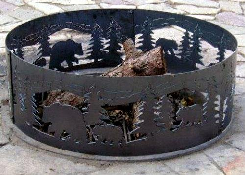 Solid Steel Campfire Fire Ring w Bears N' Cubs Cutouts (48 in. Dia.) by P&D Metal Works