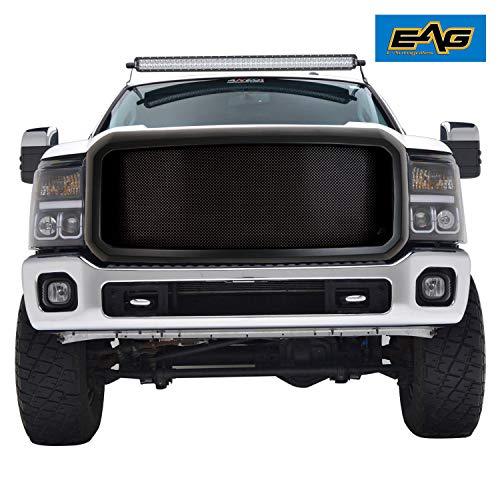 EAG Matte Black Replacement Grille Stainless Steel Mesh with ABS Shell Fit for 11-16 Ford Super Duty