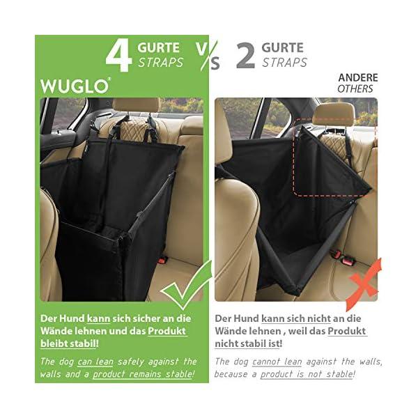 51%2BvZzJu9tL WUGLO Extra Stabiler Hunde Autositz - Verstärkter Autositz für kleine und mittlere Hunde mit 4 Befestigungsgurten…