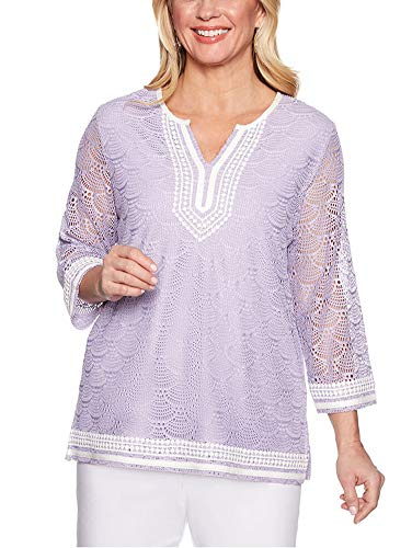 Alfred Dunner Women's Petite Catalina Pointelle Lace Tunic, Lilac, Large Petite ()