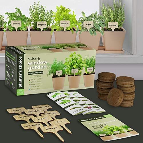 9 Organic Herbs - Indoor Window Herb Garden Growing Kit - Home Kitchen Windowsill Starter Kit - Easily Grow 9 Herb Plants from Seeds with Comprehensive Guide - Unique Gardening Gifts for Women & Men