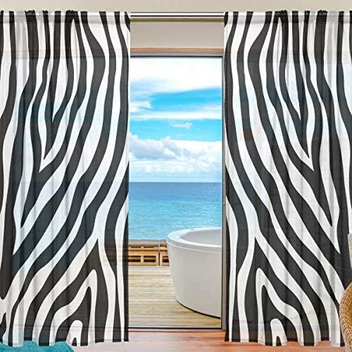 MOFEIYUE Sheer Curtain Abstract Animal Zebra Print Voile Window Curtain Drapes