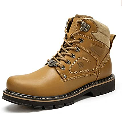 Mens Work Boots Round Toe Leather Insulated Construction Non-Slip Work Shoes High Top Work Safety Shoes Martin Boots