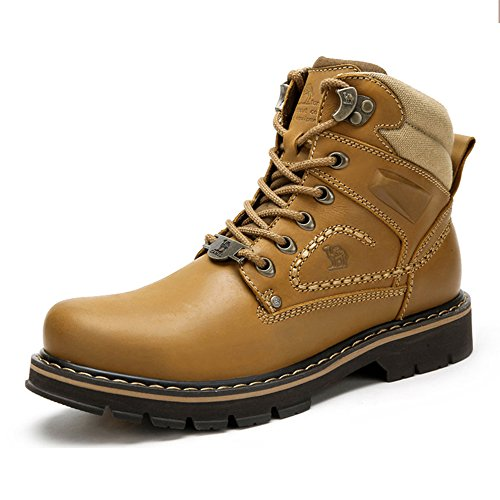 CAMEL CROWN Mens Work Boots Round Toe Leather Insulated Construction Non-Slip Work Shoes High Top Work Safety Shoes Comfortable Martin Boots Casual Shoes Khaki -