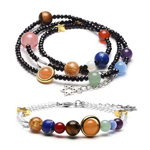 JOVIVI Solar System Couples Bracelets Chakra Healing Crystals Gemstone Universe Galaxy The Nine Planets Star Black White Glass Beads Bracelet Set for Lover Friends (Glass Black And White Bead)