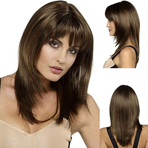 GNIMEGIL Women Full Wigs Medium Length Brown Wig Straight Synthetic Hair Wigs for Women with Bangs Fancy Costume Prom Wigs Heat Resistant Fiber Hair Wig for Daily (Short Medium Length Layered Hairstyles With Bangs)