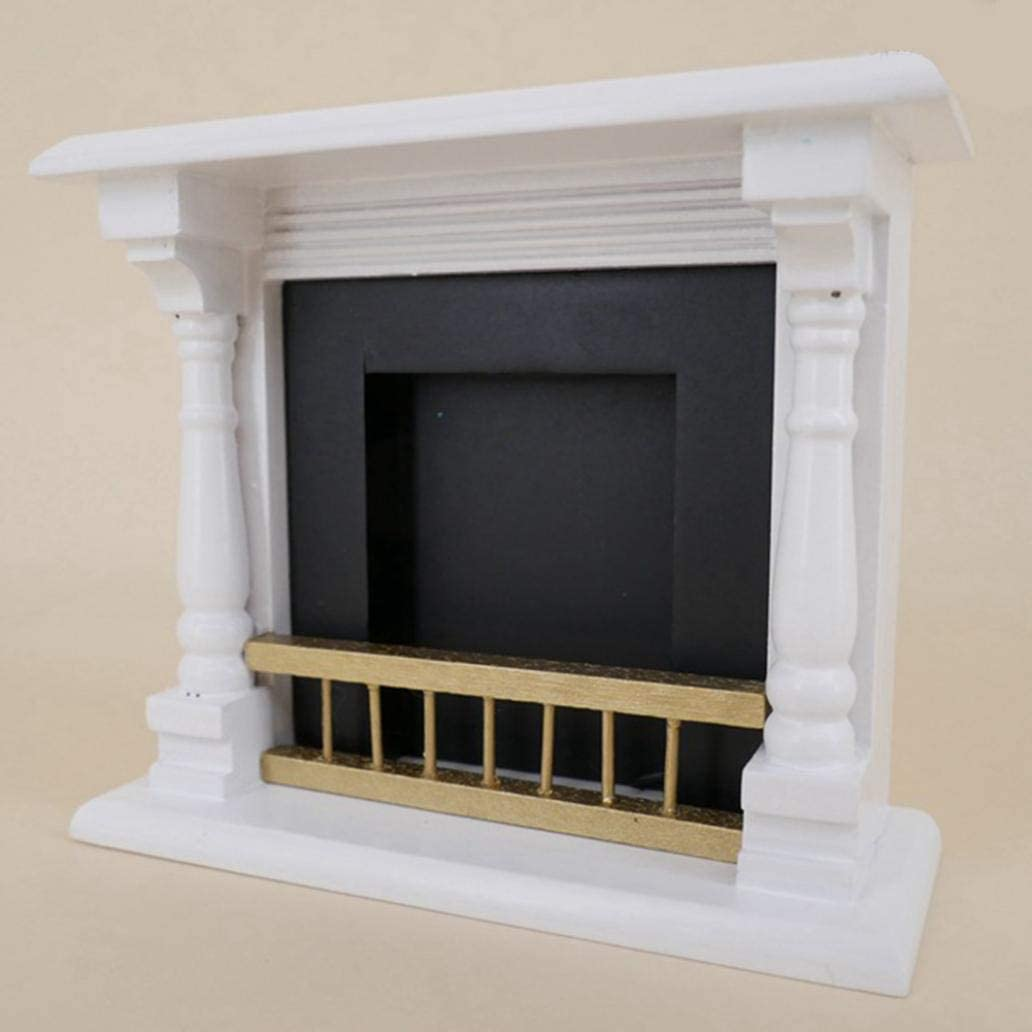 beautijiam 1//12 Scale Mini Wooden Fireplace Model Toy Dollhouse Living Room Furniture Accessories Mini Pretend Play Toy Gift