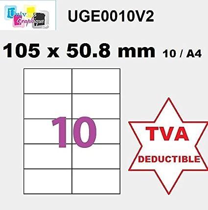 100 A4 hoja de etiqueta de 10 auto-adhesivo 105 x 50,8 mm ...