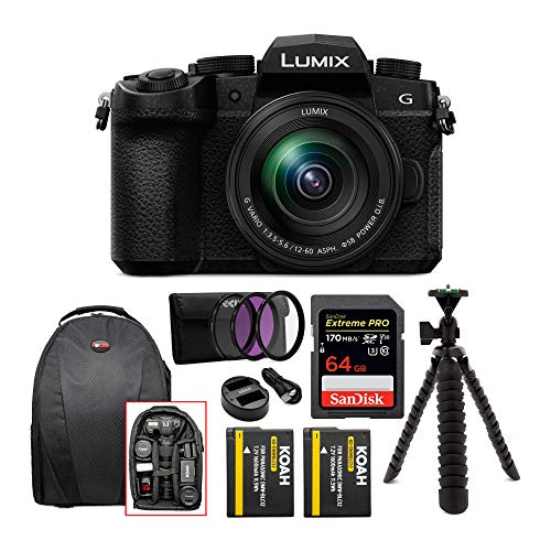 Panasonic LUMIX DC-G95 Mirrorless Digital Camera with 12-60mm Lens Bundle Includes 64GB 170 MB/s Extreme Pro SD Card, Dual Battery & Charger kit, Backpack, 3-pc Filter kit, 12″ Spider Tripod