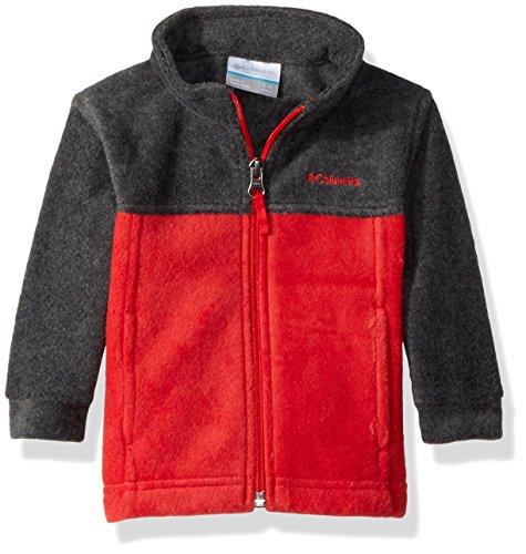 Columbia Unisex Baby Infant Steens Mt II Fleece, Charcoal Heather/Red Spark, 12/18