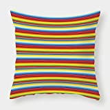 iPrint Microfiber Throw Pillow Cushion Cover,Abstract,Rainbow Colored Lines Geometrical Mexican Blanket Pattern Latin American Culture Decorative,Multicolor,Decorative Square Accent Pillow Case