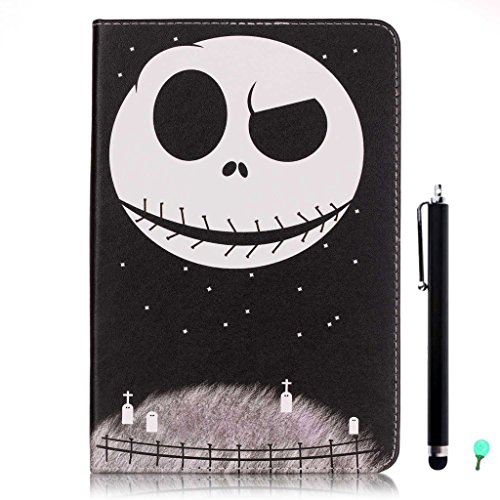 iPad Air/Air2 Case, iPad 5/6 Case, fengus Ultra Slim PU Leather Cover Stand Flip Case Cover with Cute Pattern Design Back Shell for Apple iPad Air/iPad Air 2 +Stylus+Dust plug-Skull