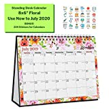 Desk Calendar 2019-2020 (8x6, Floral) Gorgeous Monthly Designs, Use Small Desktop Calendar Now to July 2020, Premium Paper, Double-Sided, Beautiful Tent Standing Easel Table Calendar
